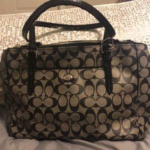 Classic coated leather black coach print handbag
